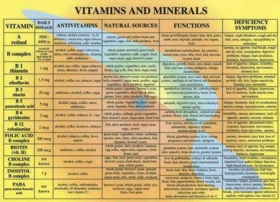 chart of vitamins and minerals: Vitamins minerals oh my vitamins and exercises