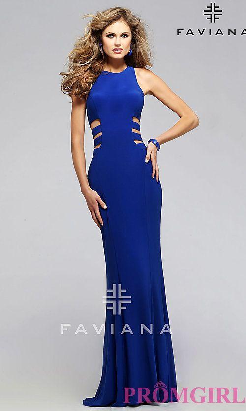 d6a8a94bf69 Faviana Royal Blue Side Cut Out Prom Dress
