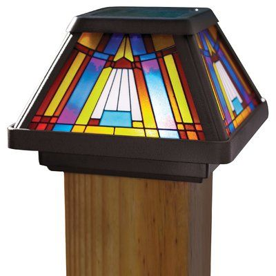 Moonrays Inglenook 1 Light Led Fence Post Cap Stained Glass Light Solar Post Caps Lamp