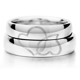 Double Heart Matching Couples Sterling Silver Gold Plated Promise Rings Set ,Best personalized gifts for him or her on Yoyoon.com