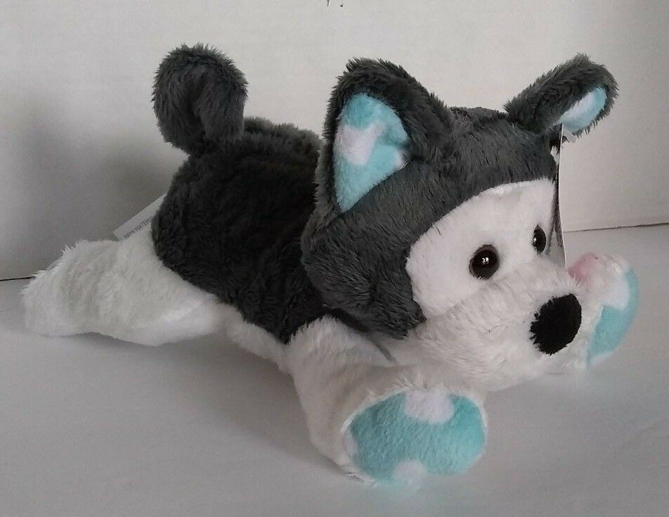 Animal Adventure Siberian Husky Dog Soft Toy 9 Blue Heart