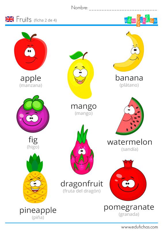 Frutas Ingles Vocabulario Niños Inglés Para Niños Ingles Para Preescolar Actividades De Inglés Para Niños