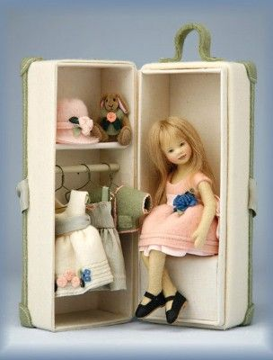 Maggie Iacono small felt doll and trunk