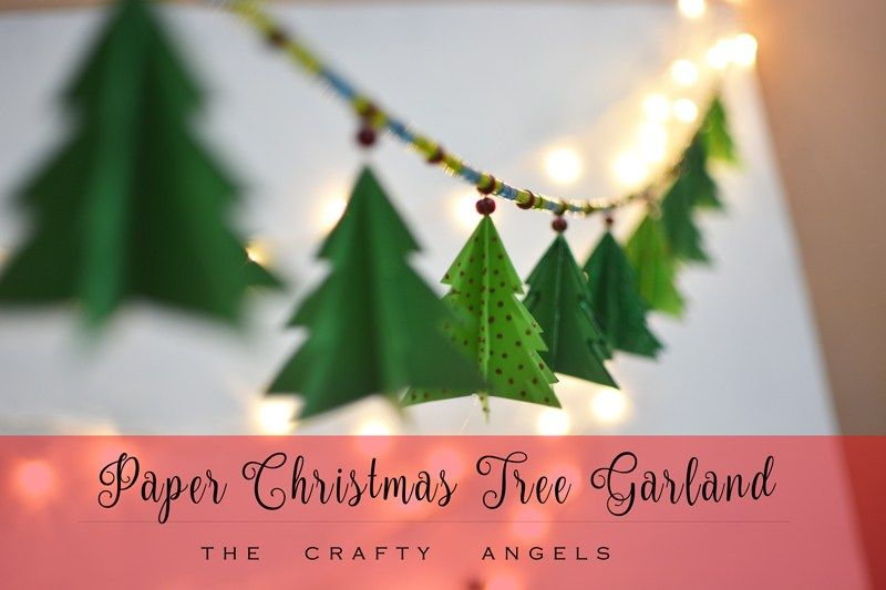 Paper Christmas Tree Garland Tutorial Diy Paper Christmas Tree Garland For Ad Diy Paper Christmas Tree Diy Christmas Tree Garland Christmas Tree Garland