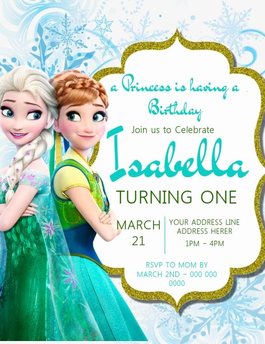 Customize This Design With Your Video Photos And Text Easy To Use Online Tools Wit Princess Birthday Party Invitations Frozen Invitations Invitation Template