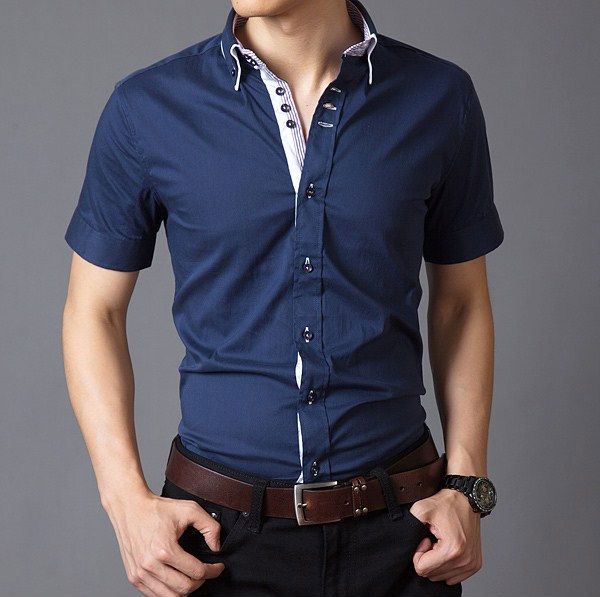 Custom Short Manga Camisas Para Hombre Formal Slim Fit Estilo Mens Camisas De Vestido En Tallas Grandes De Camisas Y Shirts Male T Shirt Formal Shirts For Men