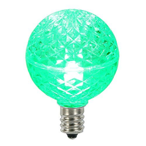 club pack of 25 led g40 green faceted replacement christmas light bulbs check