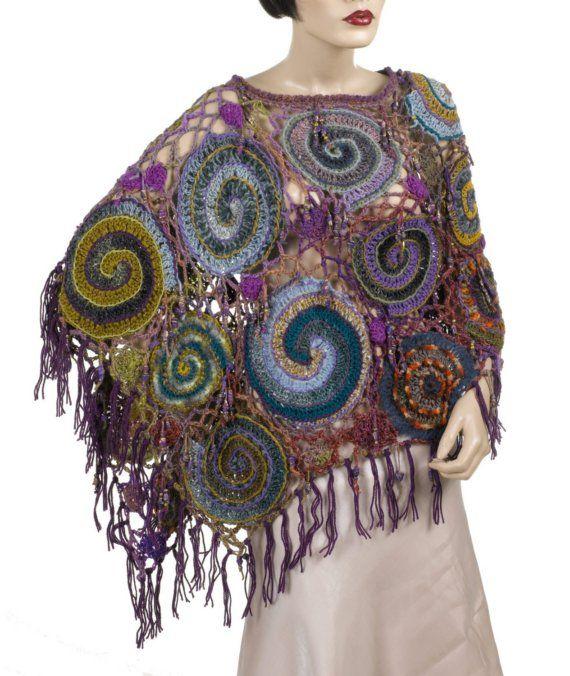 Wrap/Poncho Wearable Art OOAK Freeform Crochet  by rensfibreart