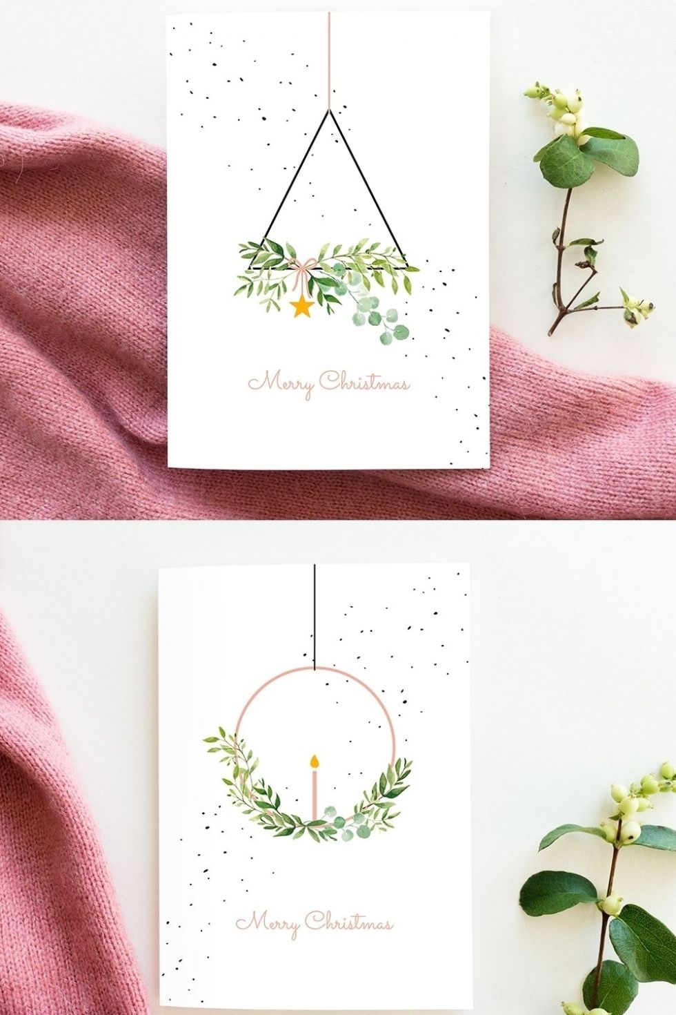 Christmas cards watercolor wreaths