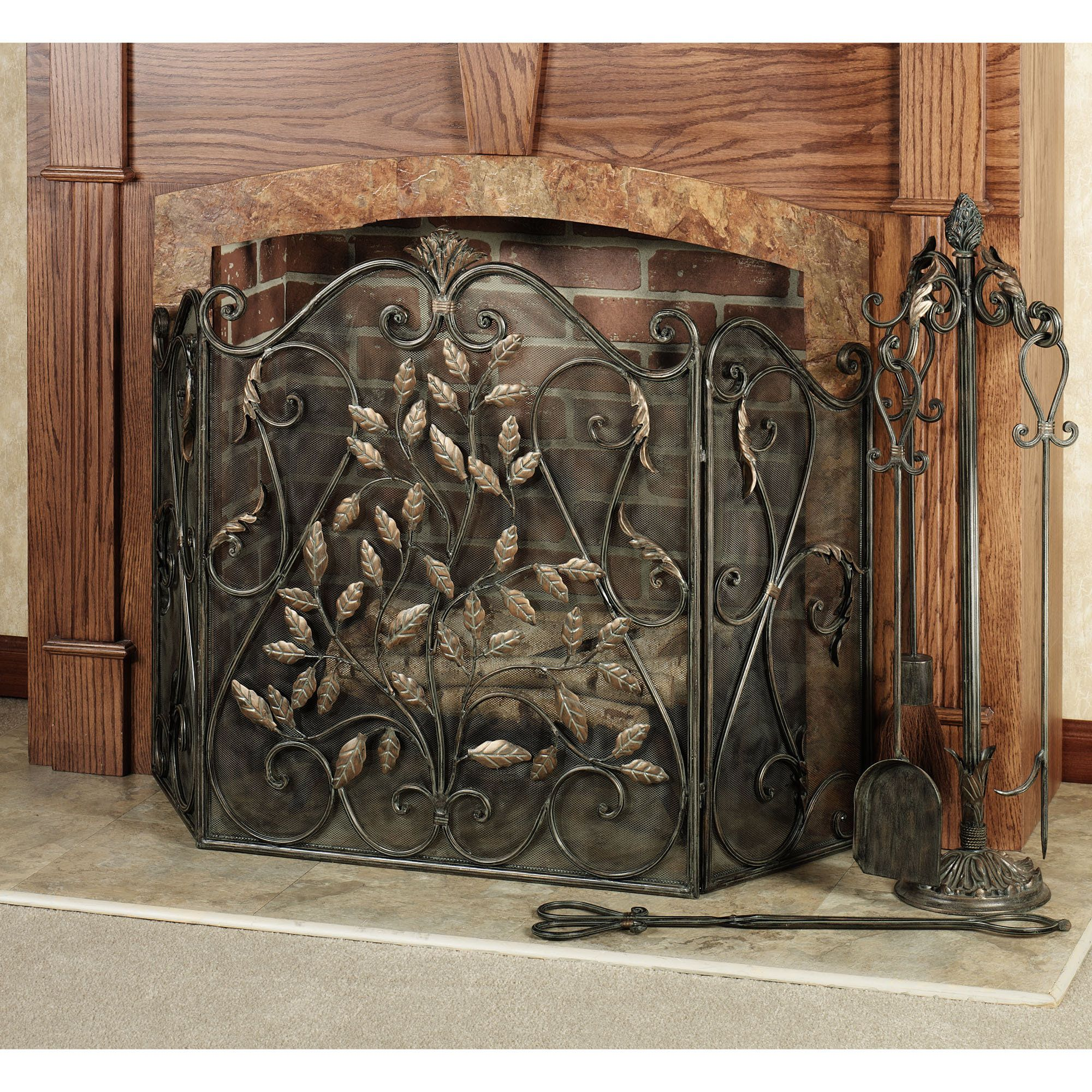 teagan leaves fireplace screen mantels decorative fireplace and