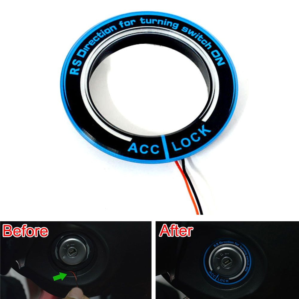 Car Ignition Engine Start Key Ring Trim With Led Light Blue Fit