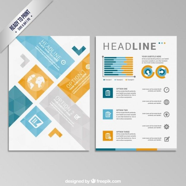 Geometric brochure Free Vector Free Trifold Pinterest - geometric flyer template