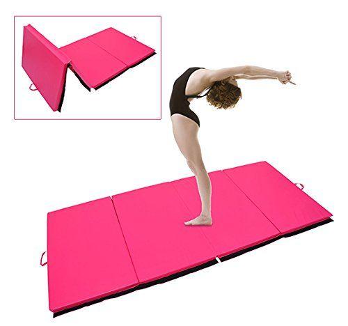 2,93L m x 1,15l m Rose Homcom Tapis de Sol Gymnastique Fitness Pliable Portable Rembourrage Mousse 5 cm Grand Confort Simili Cuir dim