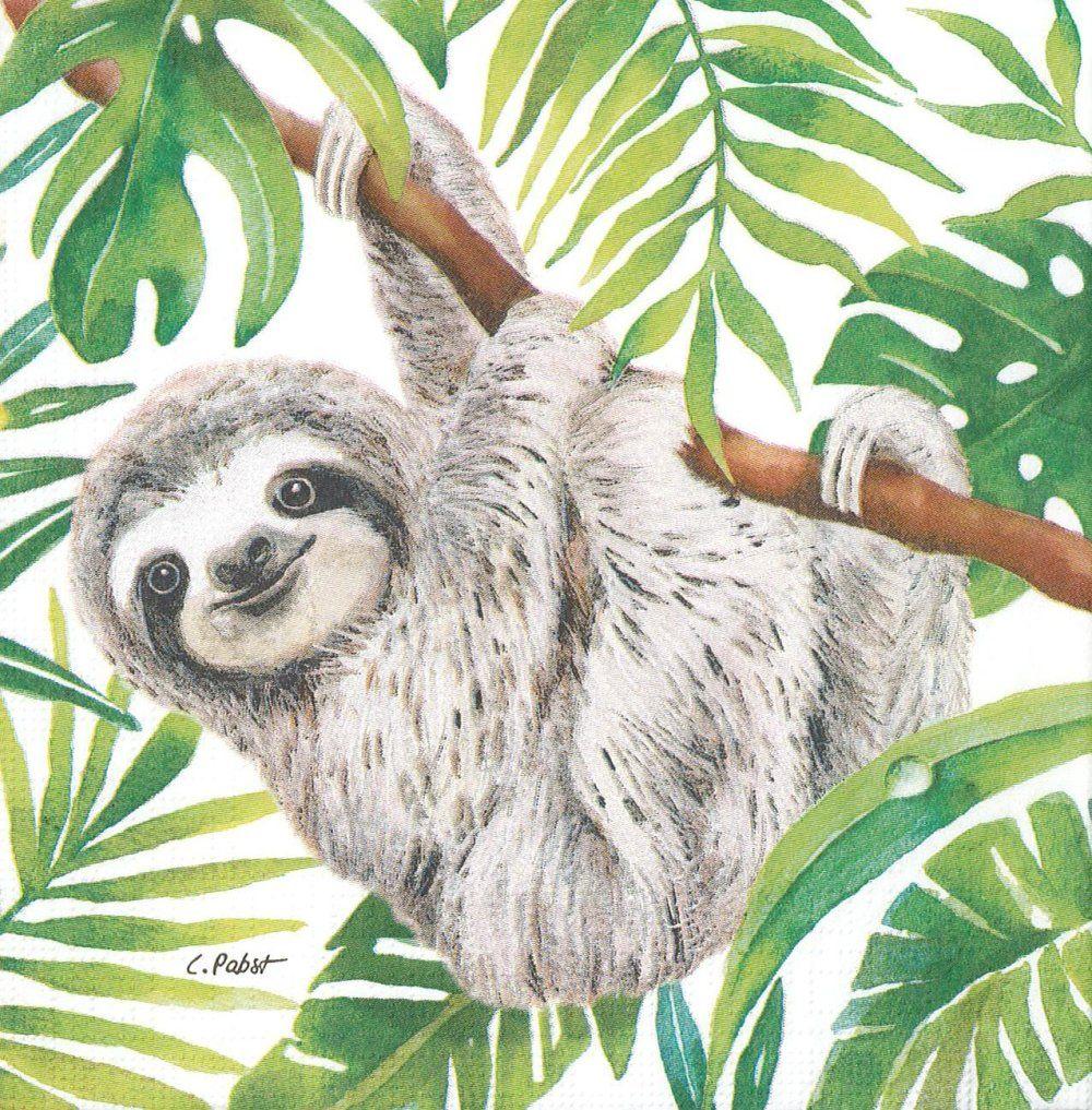 Serviette 33x33 singe paresseux dans la foret tropicale
