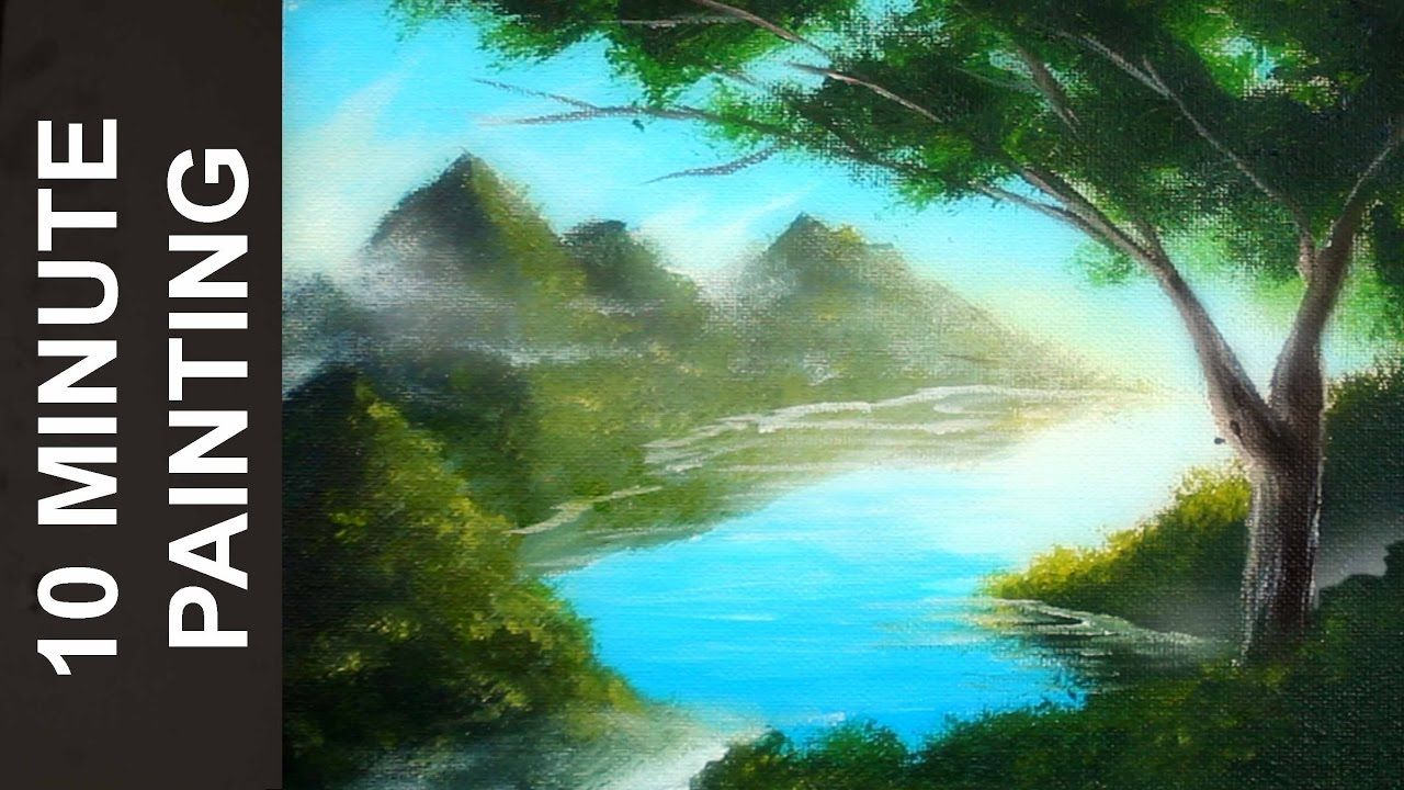 Painting A Forest Lake Landscape With Acrylics In 10 Minutes Landscape Painting Tutorial Landscape Paintings Landscape Paintings Acrylic