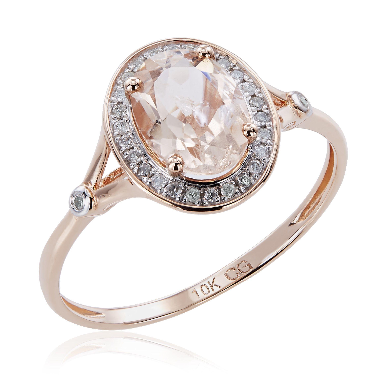 10K Rose Gold 1 21ct TW Morganite and Diamond Split Shank Ring
