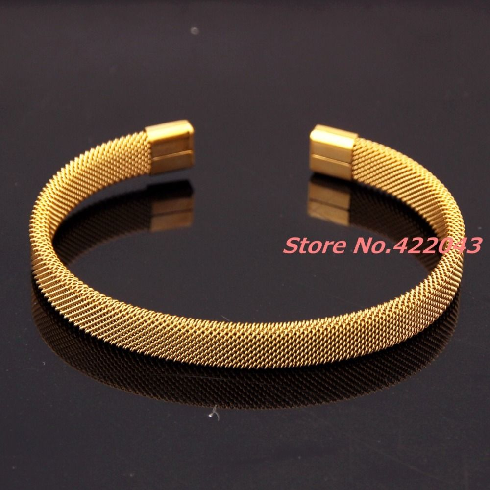 708 8MM Fashion Mens Womens 316L Stainless Steel Gold color Open