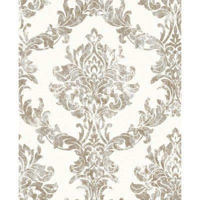 Graham & Brown Opal Damask Charcoal / Gold Wallpaper