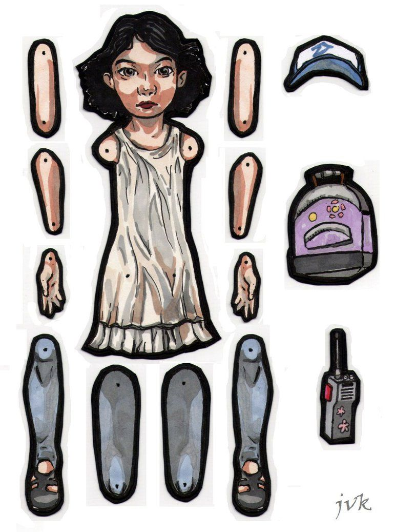 Clementine jointed paper doll. by MadunTwoSwords