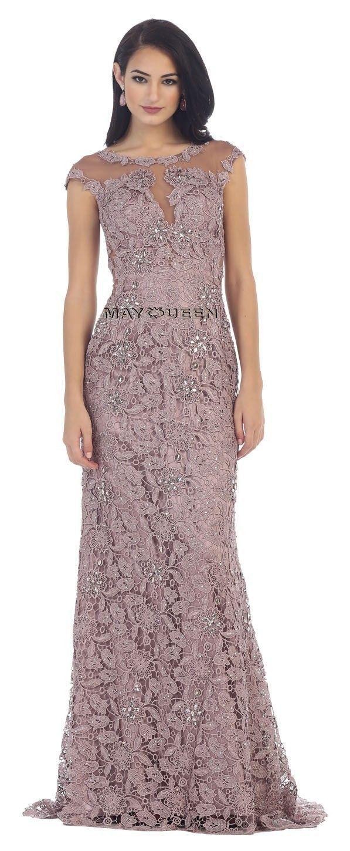 This elegant floor length formal dress features cap sleeve