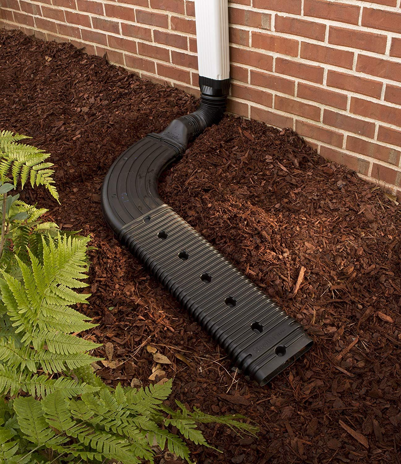 Amerimax 4601 Stealthflow Low Profile Downspout Kit Plus Extension And Elbow Adapter Black Landscape Drainage Yard Drainage Downspout