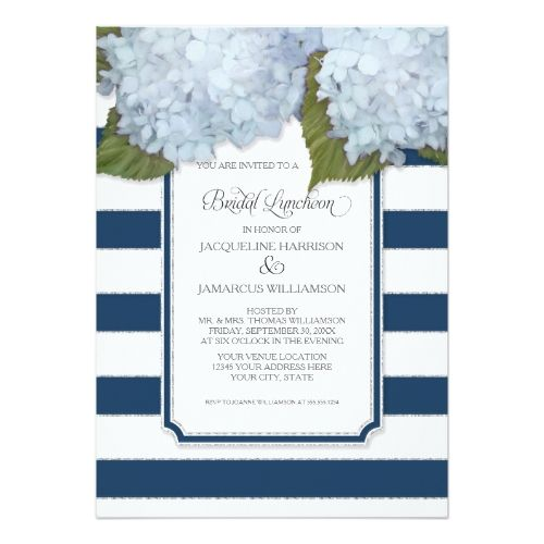 Navy Blue Wedding Invitations Modern: Blue Hydrangea Bridal Luncheon Navy Stripe Modern