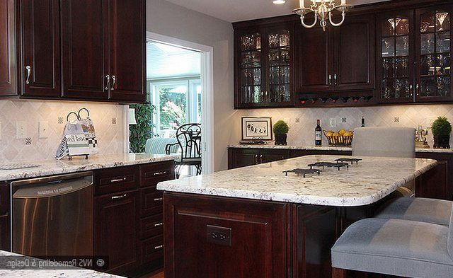 colonial white granite countertop and island top with chestnut stained cherry cabinets and natural color travertine - Kitchen Backsplash With Dark Cabinets