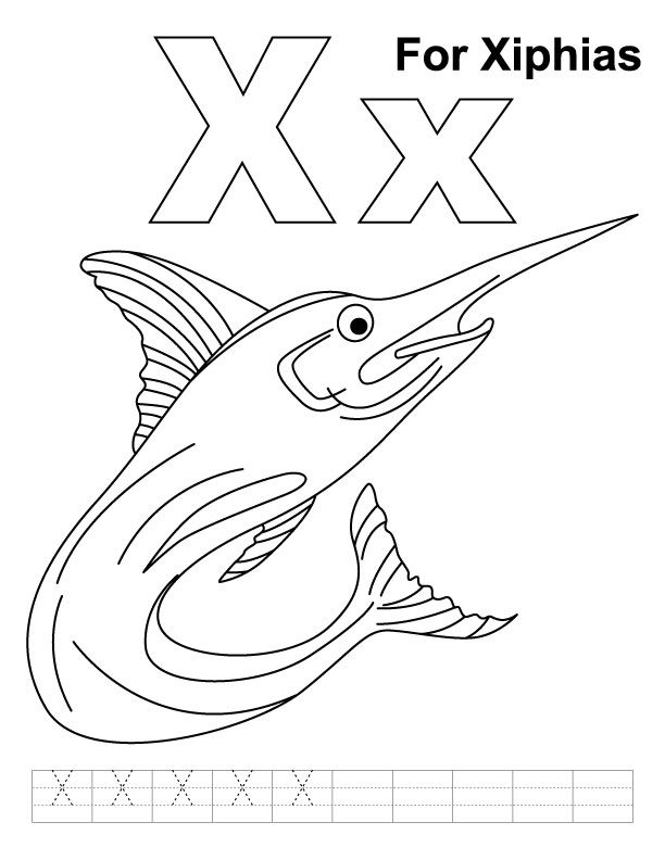 x for xiphias coloring page with handwriting practice download free x for xiphias coloring page
