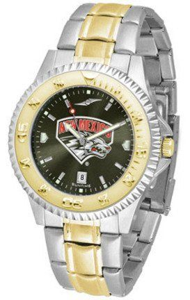 New Mexico Lobos Competitor AnoChrome Two Tone Watch by SunTime. $100.88. The ultimate New Mexico Lobos fan's statement, our Competitor Two-Tone timepiece offers men a classic, business-appropriate look. Features a 23kt gold-plated bezel, stainless steel case and date function. Secures to your wrist with a two-tone solid stainless steel band complete with safety clasp.The AnoChrome dial option increases the visual impact of any watch with a stunning radial reflection similar to t...