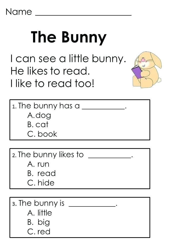 Kindergarten English Worksheets | Reading comprehension ...