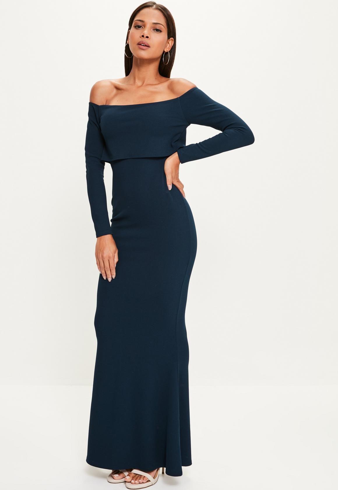 0f1be516a759 Missguided - Navy Crepe Long Sleeve Bardot Maxi Dress