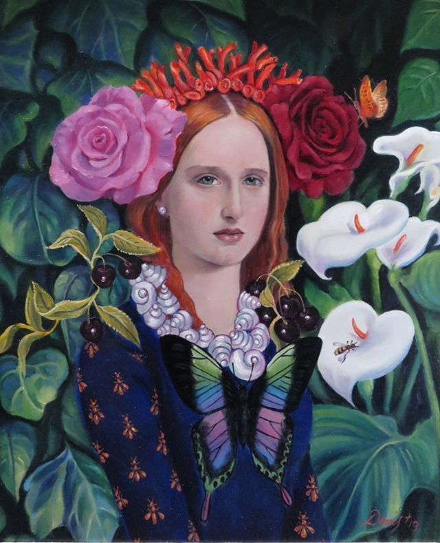 This breathtaking portrait is of Spring personified as a young girl. Her hair is crowned with spring roses and red coral with the last of winter's lilies fading away beside her. .  La Primavera by Rob Davis  .  .  .
