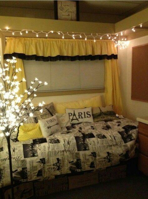 Black Gold And White Dorm Room Google Search College Dorm Room