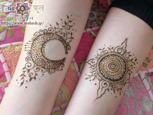 Sun and moon mehndi design