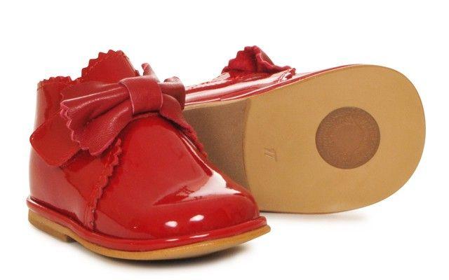 Baby Girls Red Patent Velcro Boot