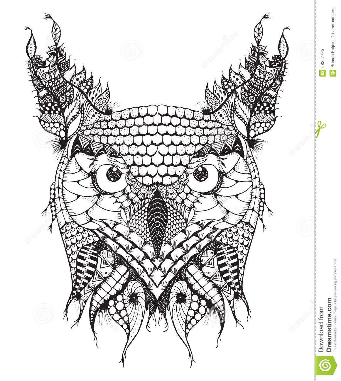 Great Horned Owl Head Zentangle Stylized Vector Illustration Freehand Pencil Hand Drawn Pattern Zen Art Ornate Lace Print 682577 Great Horned Owl Owl Zentangle
