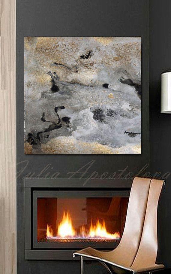45''x45'' Watercolor Abstract Print Goldleaf por JuliaApostolova