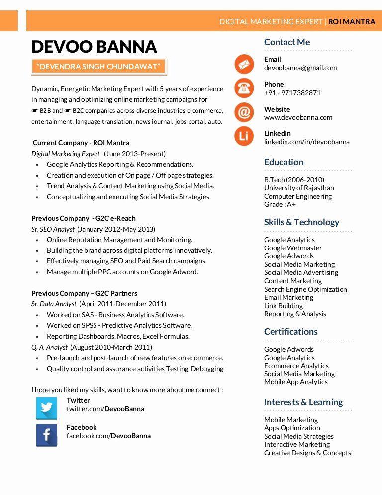 Digital Marketing Manager Resume Best Of Digital Marketing Expert Resume Devoo Banna Digital Marketing Manager Digital Marketing Manager Resume