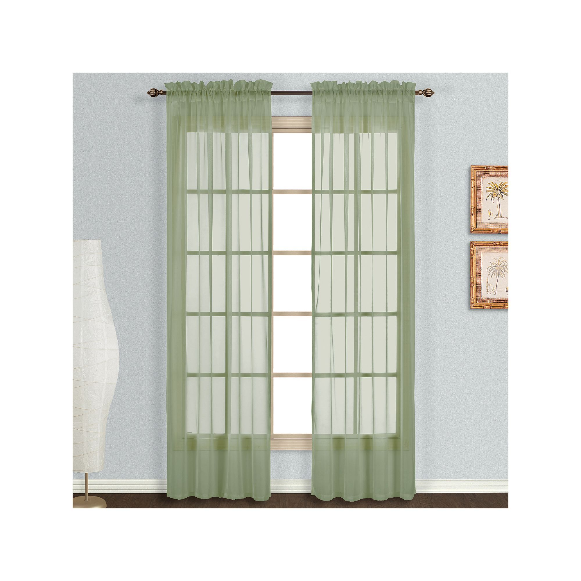 United Curtain Co 2 Pack Monte Carlo Voile Window Curtains Green
