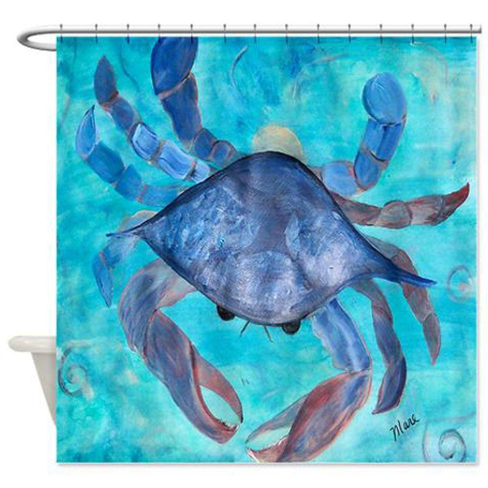 Blue crab coastal beach shower curtain beach shower curtains