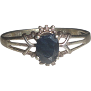 Sterling Silver Ring with Faceted Black Stone Size 10