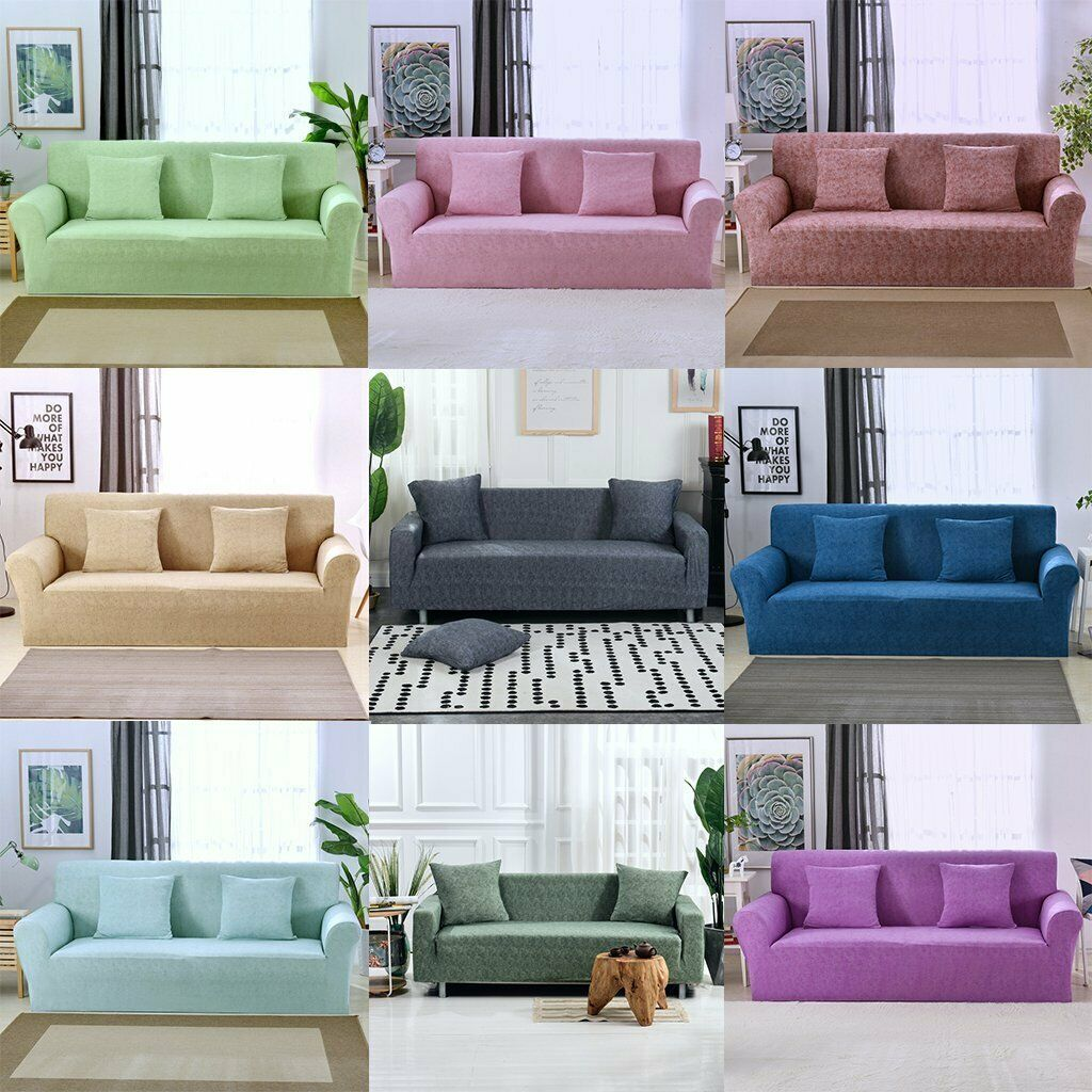 1 2 3 4 Seat Solid Color Sofa Cover Stretch Couch Slipcover Furniture Protector Sofa Slipcover With Images
