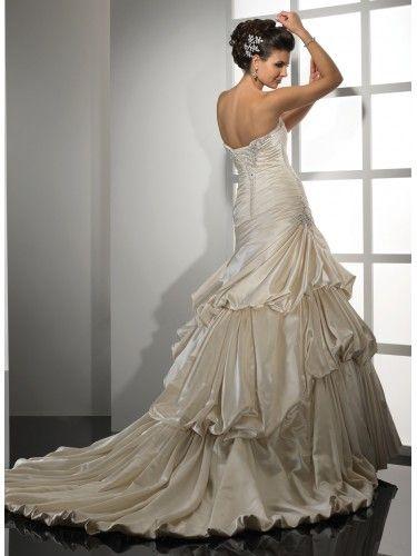 A-ligne sans bretelles de mariage robe en satin