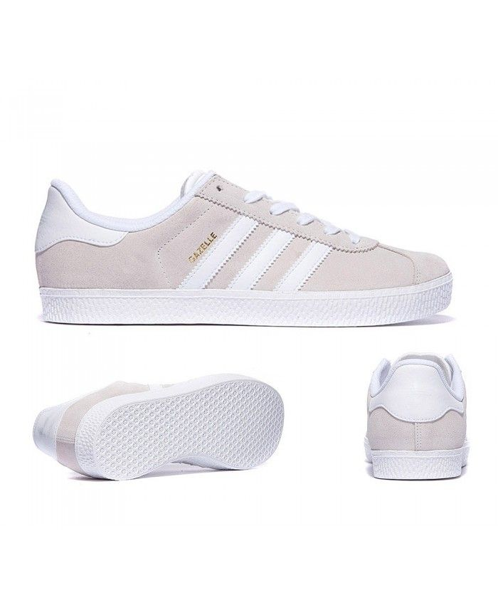 Adidas Gazelle Junior Light Beige White Trainer  ae984bcb8