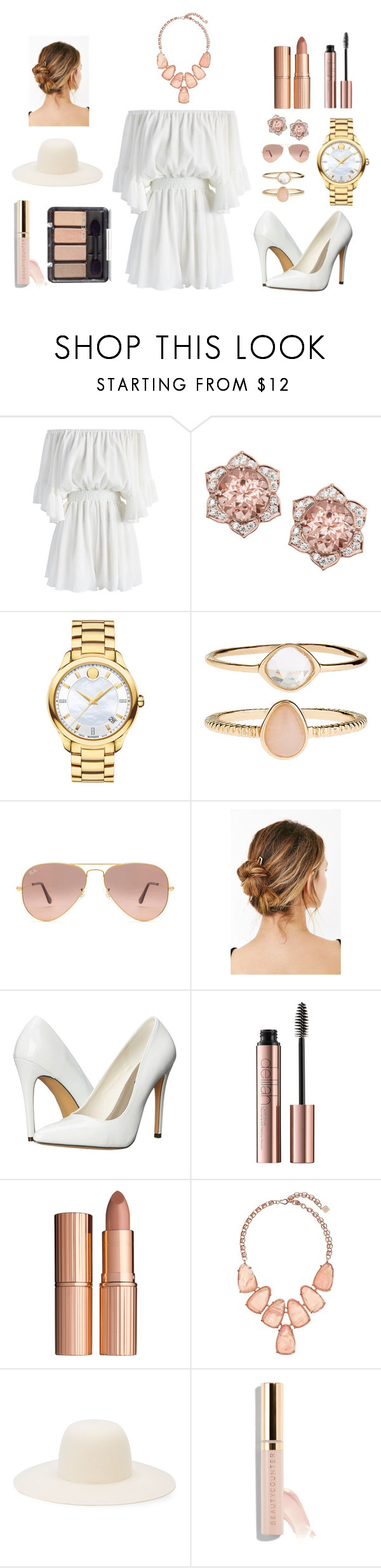 """""""Rose gold and white 💕"""" by georgie-peorgie ❤ liked on Polyvore featuring Chicwish, Movado, Accessorize, Ray-Ban, Urban Outfitters, Michael Antonio, Charlotte Tilbury, Kendra Scott, Off-White and Beautycounter"""