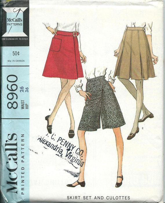 McCall\'s 8960 Misses Skirt Set and Culottes, VTG 1960s, waist Size ...