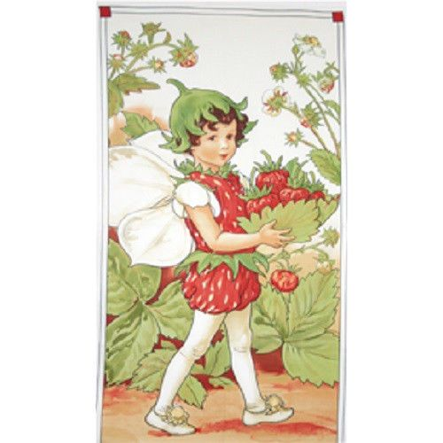 "23"" x 44"" Panel STRAWBERRY FAIRY Fairies Angel Berry Cicely Mary Barker Fabric #MichaelMillerFabrics"