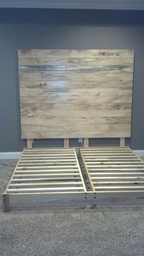 DIY Headboard we made from spalted buckeye wood. The bed frame is ...