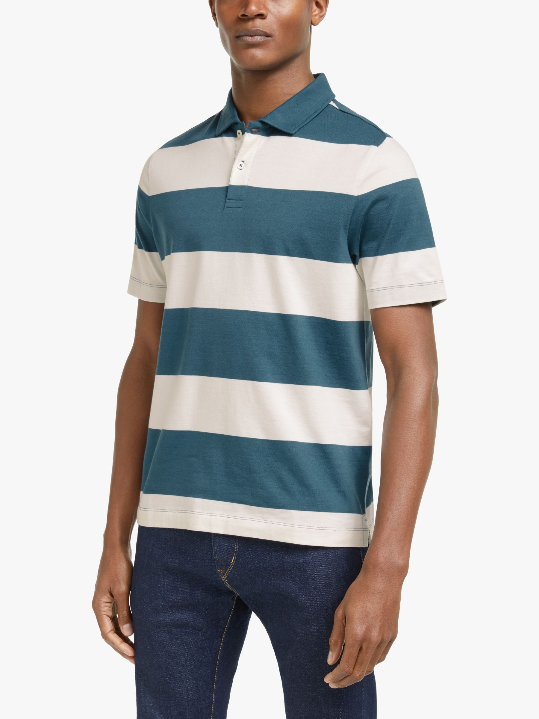 John Lewis & Partners Single Jersey Supima Cotton Stripe Polo Shirt