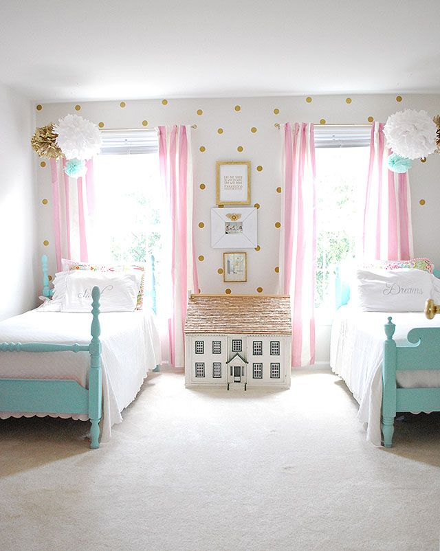 Girls Room Decorated In Pink White And Aqua 11 Magnolia Lane Girly Bedroom Shared Girls Room Girl Bedroom Decor